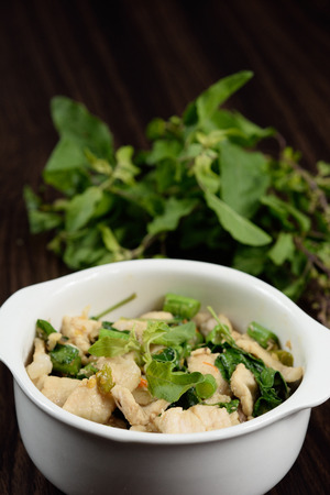 Hot and spicy fried pork with Thai Basil. Reklamní fotografie