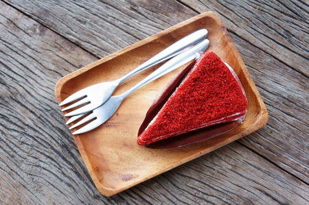Red Velvet Cake with wood plate