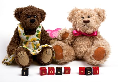 Couple teddy bears with heart. Valentines day. photo