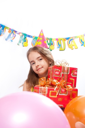 Birthday girl and gifts photo