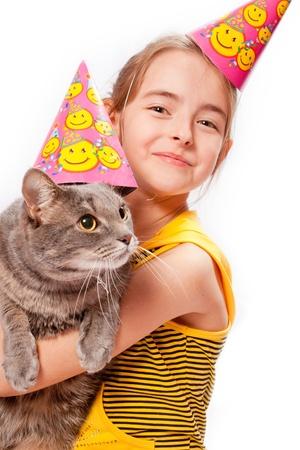 Birthday girl and cat photo