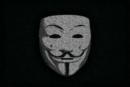 vendetta: Anonymous mask as digits nulls and ones Stock Photo