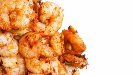 fried prawns with garlic isolated on white background