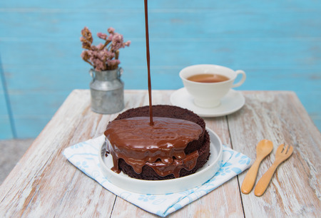 fudge: Chocolate syrup being poured over a cake,topping chocolate fudge on cake