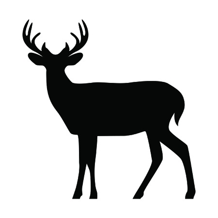 A silhouette isolated deer on white background.