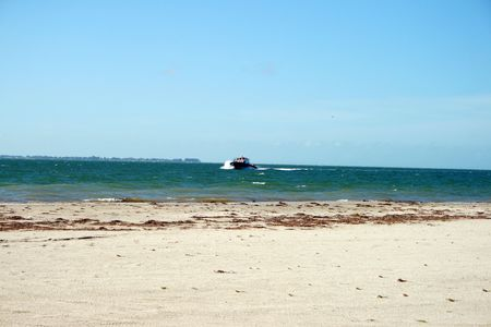 Ferry on rough seas in Tampa Bay photo