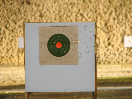 Target Shooting at outdoor gun range photo