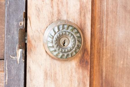 door knob: door knob old on the old wooden door