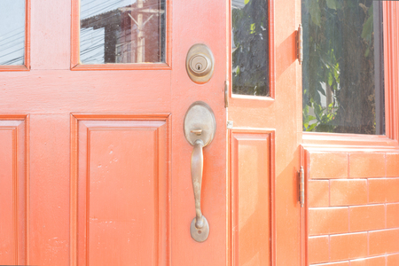 iron barred: Door knob and keyhole made style background Stock Photo
