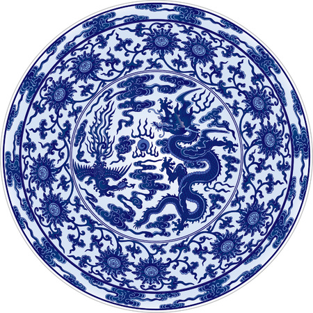chinese phoenix: Blue and White Dragon and Phoenix dish Illustration