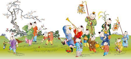 Juegos Para Ninos De Botellas De China Ilustraciones Vectoriales