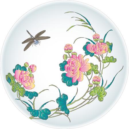 flores chinas: Peony placa modelo de la libélula