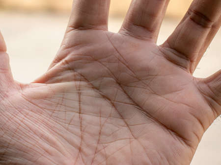 Handwriting tells of life, Macro close-up of a man's left hand palm. Stock Photo