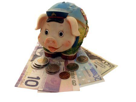 greenbacks: Funny piggy bank on a dollar banknotes