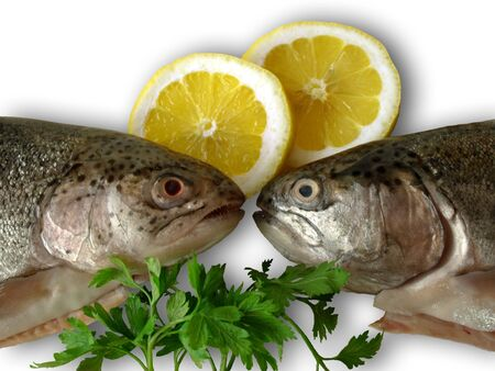 Two fish with lemon, parsley Stock Photo - 7459207