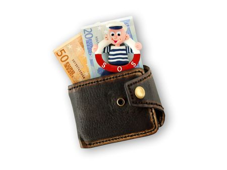greenback: Funny sailor  in a purse with banknotes of euro