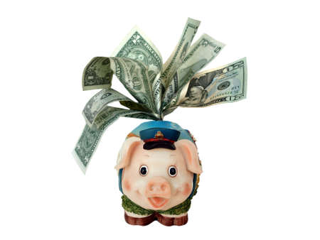 greenback: overstuffed funny piggy bank with dollar banknotes  Stock Photo