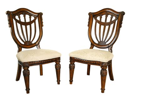 objects: Pair very good quality of ornate chairs Stock Photo
