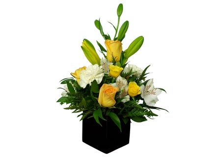 mixed flower bouquet: Beautiful bouquet of flowers in black vase; isolated on white Stock Photo