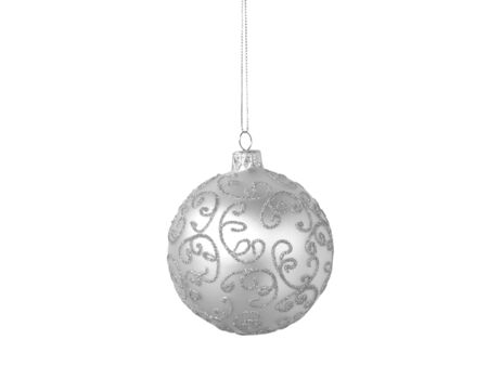 Silver Christmas ball isolated on white background  Imagens
