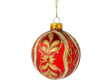 christmas tree red ball decoration isolated on white background Stock Photo
