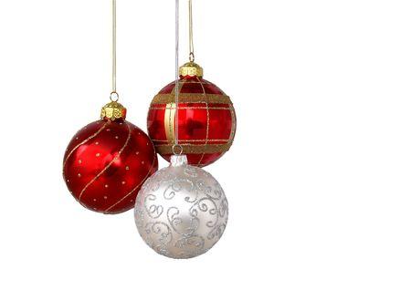Arbre de Noël ornements pendaison, isolé sur fond blanc  Banque d'images - 8089152
