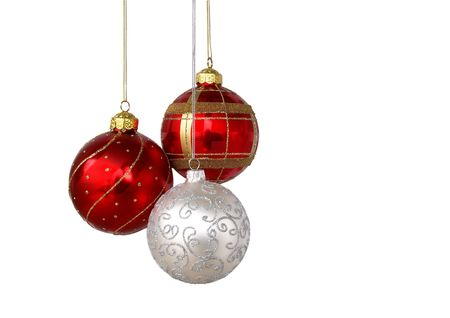 christmas backdrop: Christmas tree ornaments hanging, isolated on white background