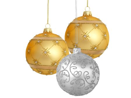 silvery: Christmas tree ornaments hanging, on white background
