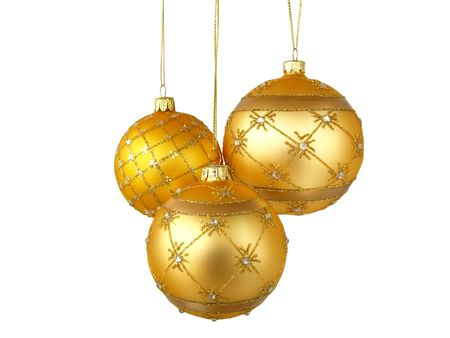 Christmas tree ornaments hanging, on white background