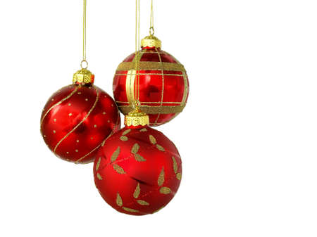 christmas backdrop: Red Christmas balls, isolated on white background