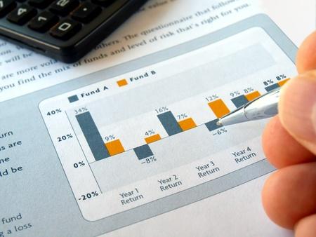 rendement: Mannelijke hand met pen op de investeringen grafiek met calculator        Stockfoto