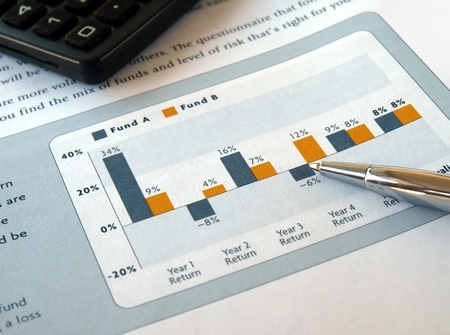 capital gains: Pen on the investment chart with calculator