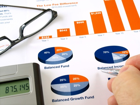equities: Male hand with pen on the investment chart with calculator and glasses       Stock Photo