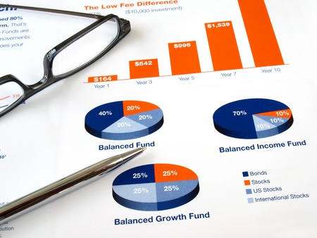 Glasses with pen on the investment chart        版權商用圖片