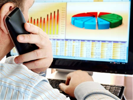 Man on a phone analyzing financial data and charts on computer screen. photo