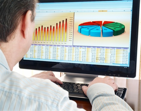 screen: Analyzing  financial data and charts on computer screen.