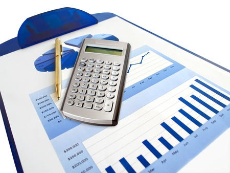 Pen, calculator and investment chart on the clipboard. Stock Photo - 10050888