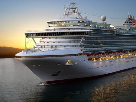 luxury liner: Luxury cruise ship sailing from port on sunrise.  Stock Photo