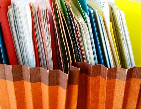 Row of folders in expending file pockets Stock Photo - 10264987