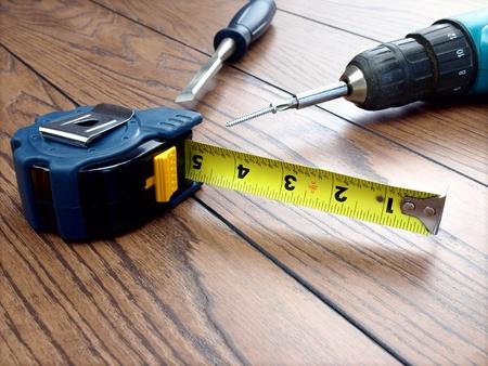Carpenter tools on the hardwood