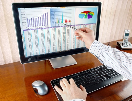 analytics: Analyzing  financial data and charts on computer screen.