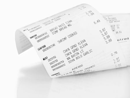 Closeup of grocery shopping receipt