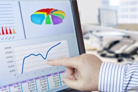 Analyzing  financial data and charts on computer screen