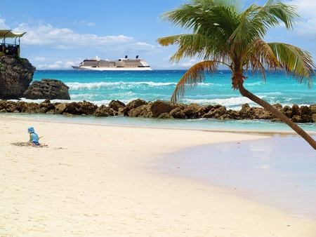 cruise: Tropical beach with palm tree and cruise ship in distance Stock Photo