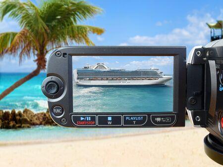 view through: View through the camera on luxury cruise ship Stock Photo