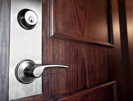 Wooden Door with  stainless steel Handleset 版權商用圖片