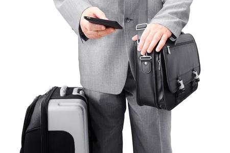 Traveling Businessman Calling by Phone Foto de archivo