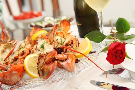 Fine Dining with Grilled Lobster Stock Photo