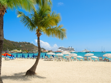 caribbean cruise: Tropical beach with palm tree and cruise ship in distance Stock Photo