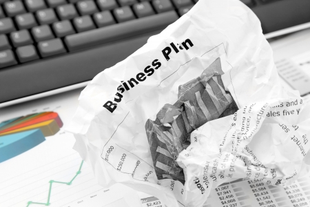 reject: Rejected Business Plan on the Office Background Stock Photo
